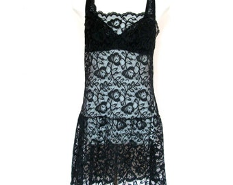 80's Sheer Lace Mini Dress size - M
