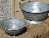 Strain Your Food Vintage Aluminum Pair of Collanders