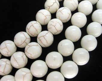 12mm White Turquoise Smooth Round Beads  - 16 Inch Strand