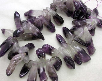 AWESOME - Natural Amethyst Rock Crystal Top Drilled Point Beads