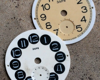 Vintage Alarm Clock Faces Raketa -- set of 2 -- D9