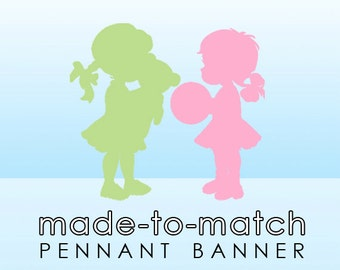 Made-to-Match Pennant, Flag Banner . Digital File - to coordinate with SSC Card Design