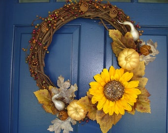 Fall wreath with sunflower and gourd detail