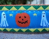 "Sale Halloween Dog Collar Ghosts and Pumpkins 1"" wide side release adjustable buckle - no Martingale"