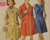 "Mad Men 1960s Coat and Sheath Dress Pattern, Double Breasted Coat, Yoke, Princess Seams  Simplicity No. 8043 Size 12 (Bust 34"" 87cm)"