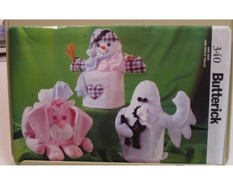 Snowman Tissue Box Cover Pattern, Christmas, Ghost, Easter Bunny, Butterick No. 340 UNCUT