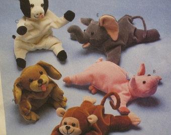 """Stuffed Animals Pattern, Bull, Elephant, Monkey, Pig, Dog Bambini McCalls No. 626 UNCUT Size 9"""" (23cm)"""