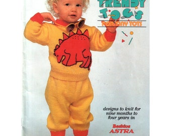 Childrens Dinosaur Sweater Pattern, Frogs, Ladybugs, Artist, Hug Me Heart, I Eat My Veggies, Knitting, Patons No. 522 Sizes: 1 2 3 4