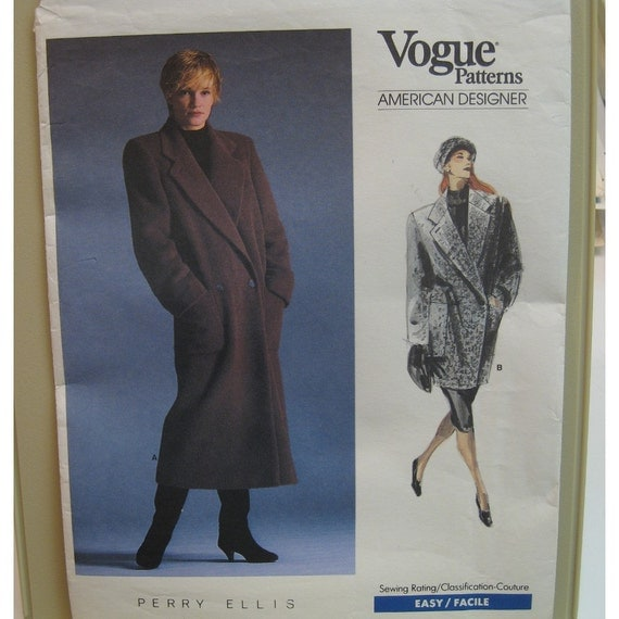 "Perry Ellis Coat Pattern, Straight Cut, Double Breasted, Vogue American Designer No. 1935 UNCUT Size 12 (Bust 34"" 87cm)"