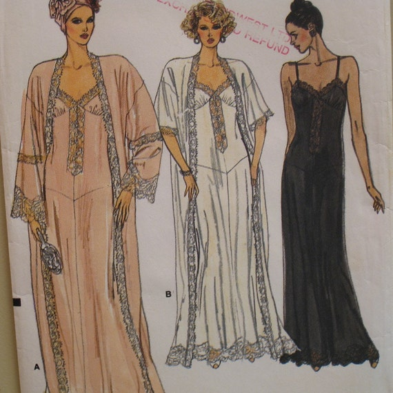 Nightgown and Robe Pattern, Bra, Lace, Straps.Shaped Front Bodice, Loose Fitting Robe Vogue No. 9764 UNCUT Size 6-14