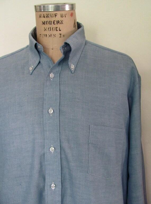 The 1980's Button Down Collar Blue Men's Shirt