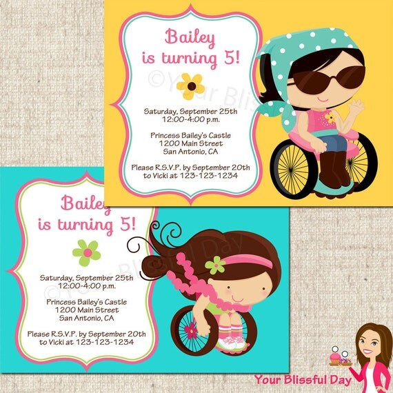 PRINTABLE Girl Just Like Me Party Invitation (Character of your choice) #542