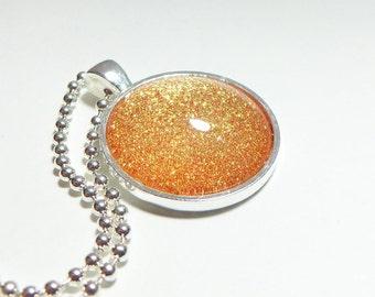 Gold Glitter Pendant, Glitter Necklace, Glitter Jewelry