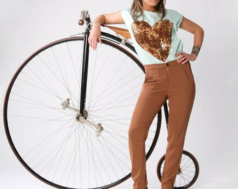 Clearance sale/ High-waist Rust brown women trousers, Women pants, Cropped pants, Skinny pants, Women bottoms