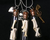 LAST ONE - Real Tail Bones in LRG Glass Vial Pendant with 18 Inch Necklace - 5 Chain Options, 5 Charm Options