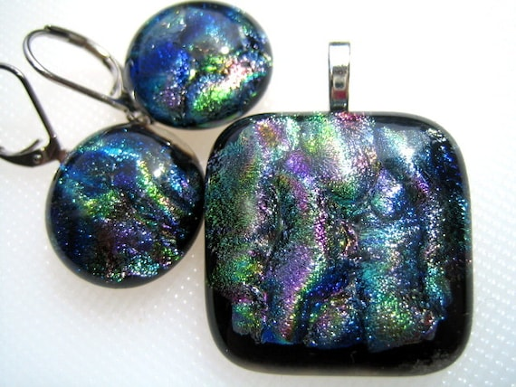 DICHROIC Multi-Colored FUSED GLASS Jewelry Pendant & Earrings with Lever Backs