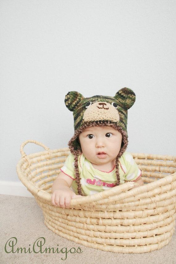 Crochet Camo Bear Hat (6 -12m)