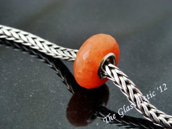Faceted Carnelian European Charm Bead Universal BHB fits Trollbeads and all other systems