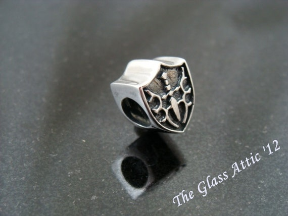 Shield Sterling Silver European Charm Bead fits Trollbeads and All BHB
