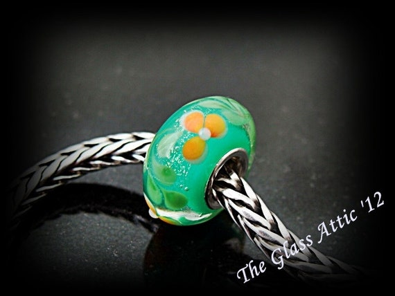 Green Opal Glitter Fern Flowers fits Trollbeads and all European Charm Bead SRA BHB