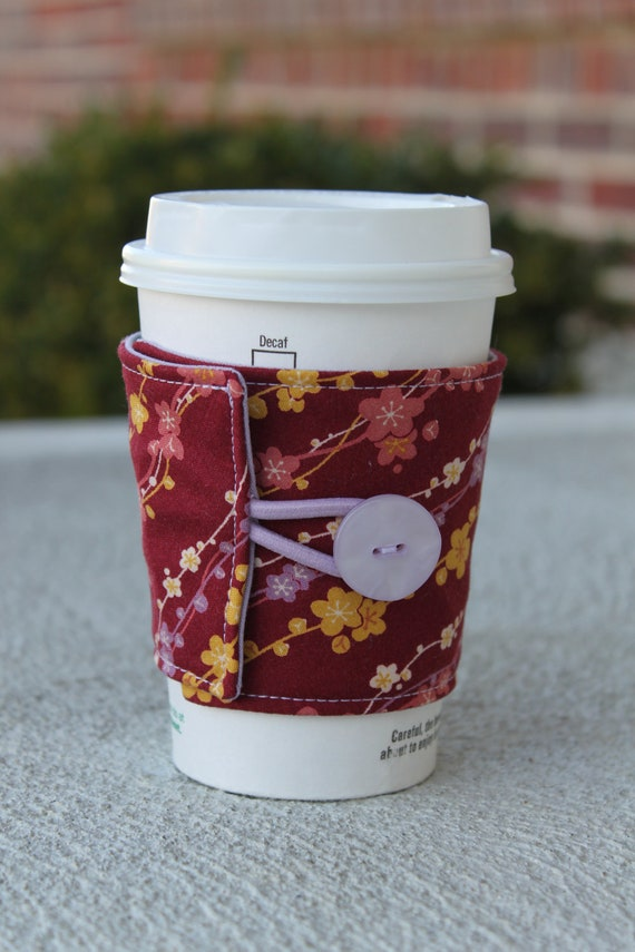 Coffee Cup Cozy / Reusable Coffee Sleeve - Maroon with Lilac and Yellow Flowers - GREAT TEACHER GIFT