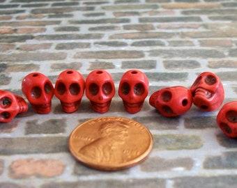 Teeny Tiny Red Stone Skull Beads