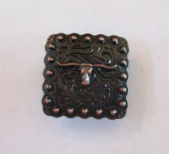 Small Square Berry Concho Antiqued Copper with Longhorn