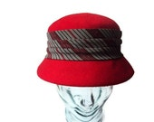 1960's Vintage Red Cloche Hat, Wool Felt Hat, 100% Wool, Striped, Made by Neumann Endler Inc. for Fair Field Felts