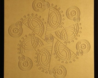 Crop Circle Wood Relief - 24x24 - X to the Sixth Power