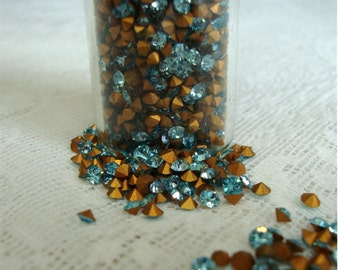 2.35mm Vintage Round Aquamarine Blue Crystal Jewelry Making