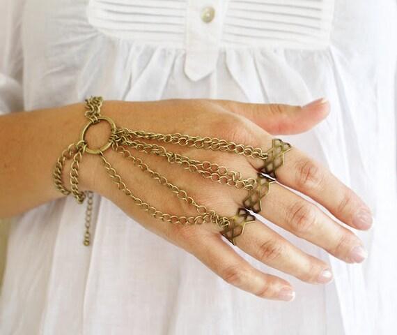 Fabulous rings slave bracelet completely adjustable/hand piece/unique vintage style bracelet/ Urban/nomad/bohemian