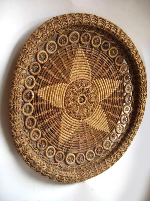 Handmade Pine Needle Baskets : Antique handmade coiled pine needle quill basket
