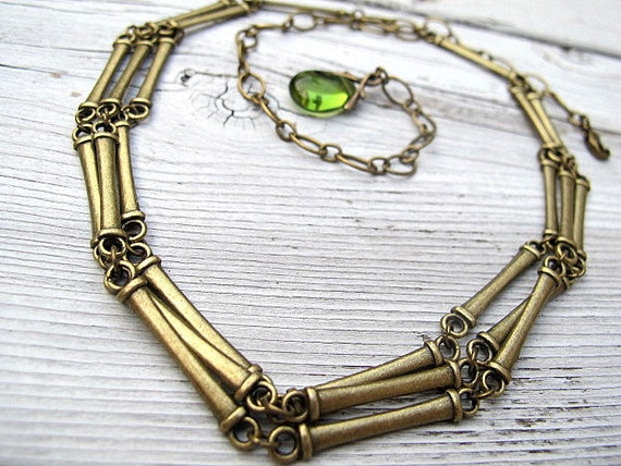 Antique Brass Choker Necklace, Layered Bar Collar
