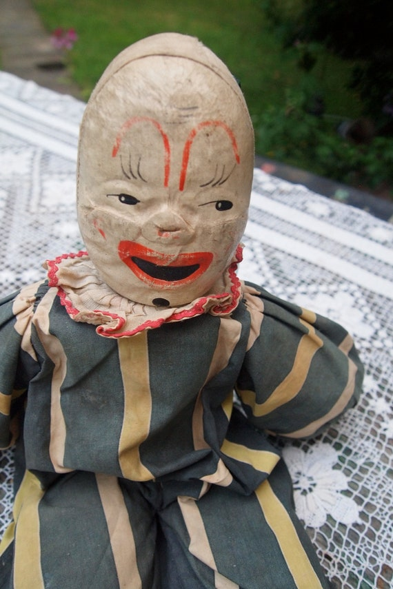 Old Vintage CLOWN DOLL 1950s Hand Painted Face SALE