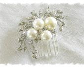 Wedding Hair Comb, Bridal Hair Comb, Pearl Crystal Bridal Headpiece, Rhinestone Pearl Wedding Hair Piece, Pearl Jeweled Hair Comb, No. 9111