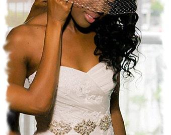 Beaded Rhinestone Crystal Bridal Sash, 9 inch Crystal Wedding Belt. Silver Jeweled Wedding Dress Sash, Vintage Style Bridal Belt, No. 1171S3