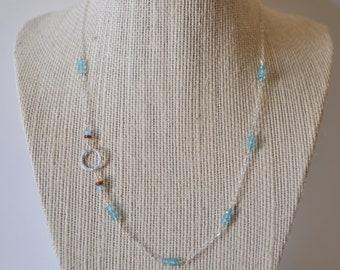 Blue Apatite, Garnet and Citrine Rondelle Necklace