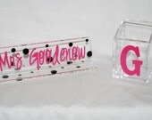 Personalized Acrylic Desk Set - Teacher Name Plate