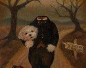 Dog Portrait Print - Halloween Dog - Dog Art - Halloween Decor, Headless Horseman, Sleepy Hollow, Gothic Print, Humorous, Funny Dog, Cute