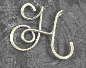 Personalized, Script Style Sterling Silver Initial Necklace, Handmade, Customized, Larger size