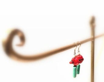 Earrings, Turquoise, Red Coral, Silver Beads, Silver Metal Dangle Hooks