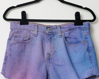 Vintage 80s/90s Punk Rock Denim Levis 505 Cut Off Short Shorts Dyed Purple On Some Parts and Silver Studs On Back Pocket