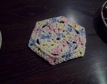 Set of 8 crocheted cotton hexagonal coasters - made to order