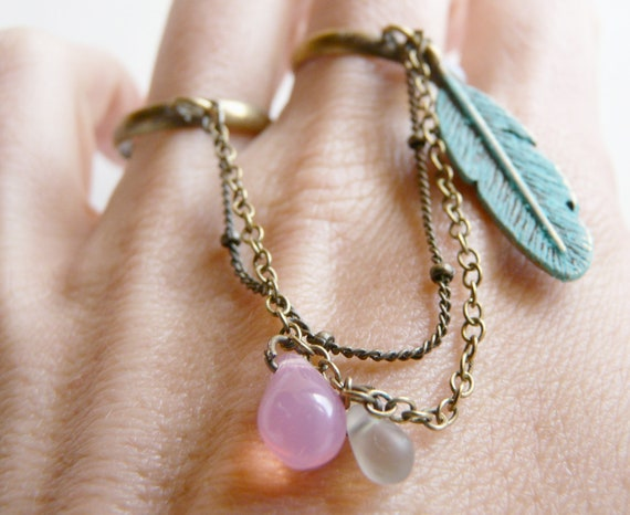 Pastel Blue green double ring ( feather, pink drop, verdigris, multi strands, multi chains, romance, love ) 47