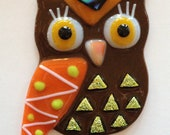 Fused Glass Owl with Hanger - Mr. Brown with Green Triangles
