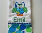 Embroidered Applique boys owl burp cloth - personalized