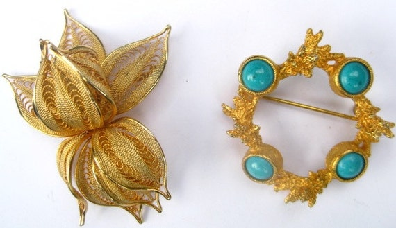 Vintage  Lot of 2 Brooches Napier DeNicola Flower Leaf Faux Coral and Turquoise Dimensional Large