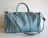 SALE Baby Blue Vinyl Duffel Bag