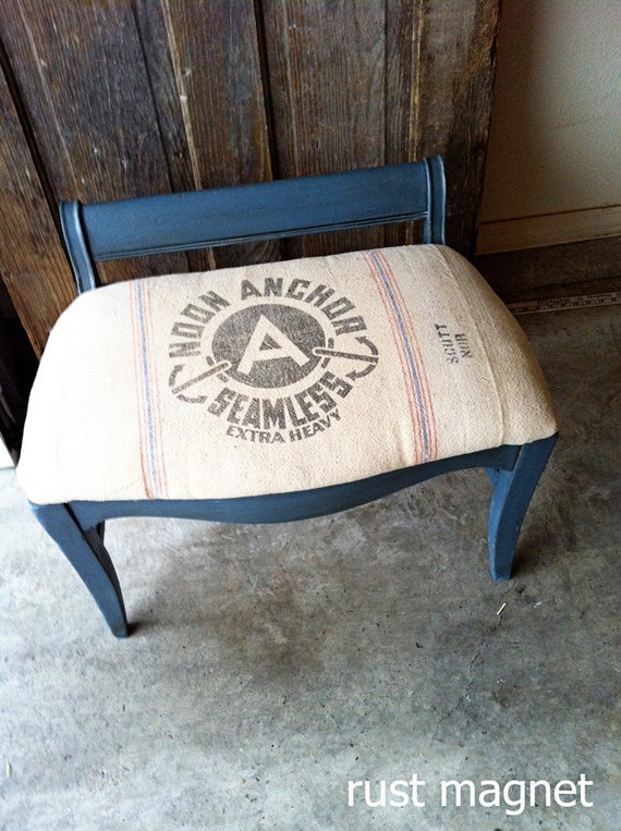 Vintage Stool with 1940s grain sack upholstery