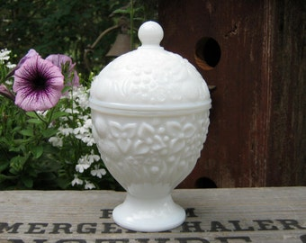 Milk Glass Covered Compote by Avon - Candle Holder - Oak Hill Vintage